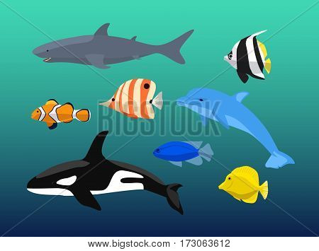 Vector set of sea creatures. Cute animals whale, fish, dolphin, shark. Vector illustration