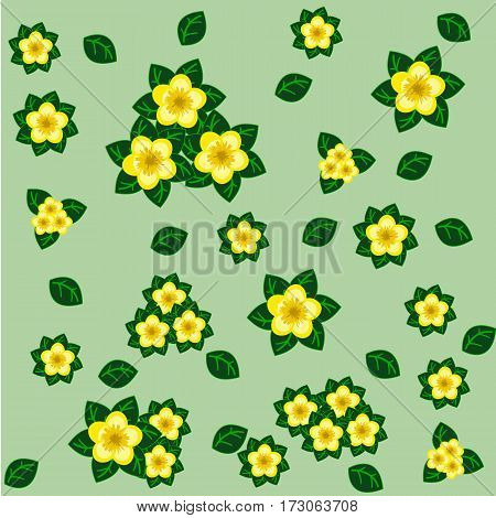 Floral seamless pattern with yellow flowers and green leaves on light green background. Vector illustration