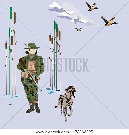 Hunting ducks concept vector illustration. Hunter with hunting dog and flying ducks isolated. Flat style design elements.
