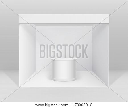 Vector White Blank Indoor Trade exhibition Booth Standard Stand for Presentation with Counter Isolated on Background