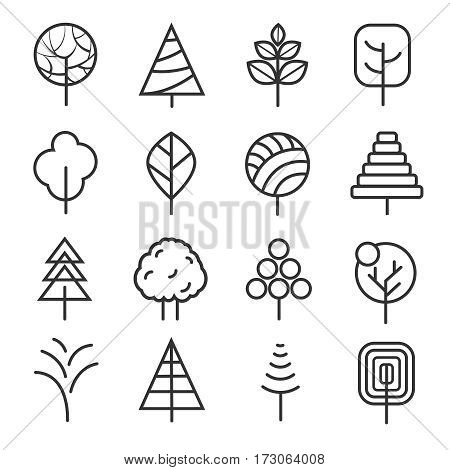 Simple contour lines trees. Vector nature plants and trees thin line icons isolated on white background. Collection of linear organic tree illustration