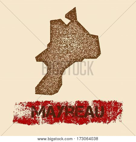 Mayreau Distressed Map. Grunge Patriotic Poster With Textured Island Ink Stamp And Roller Paint Mark