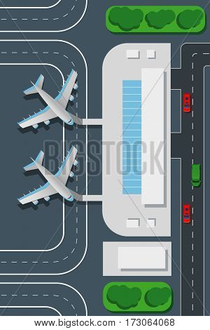 Airport top view vector illustration. Landing pad and airplanes. Airplane for journey, rline, terminal airport