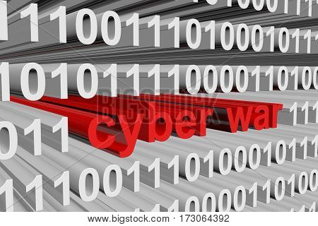 cyber war in the form of binary code, 3D illustration