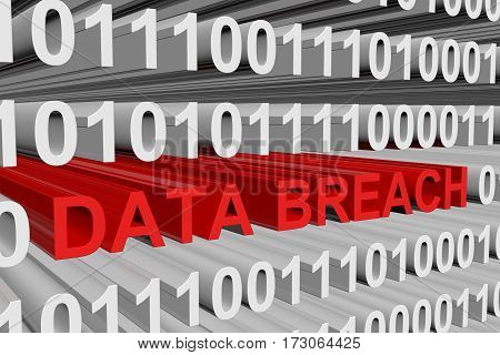data breach is presented in the form of binary code 3d illustration