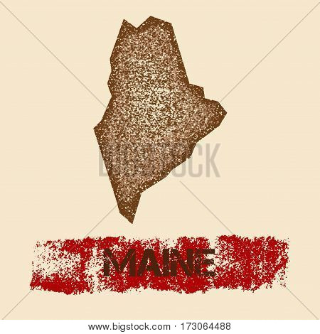 Maine Distressed Map. Grunge Patriotic Poster With Textured State Ink Stamp And Roller Paint Mark, V