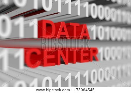 data center is represented as a binary code with blurred background 3d illustration