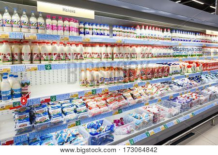 SAMARA RUSSIA - JANUARY 2 2017: Fresh dairy products ready for sale in supermarket Lenta. One of largest retailer in Russia