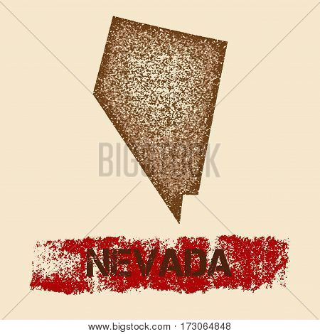 Nevada Distressed Map. Grunge Patriotic Poster With Textured State Ink Stamp And Roller Paint Mark,