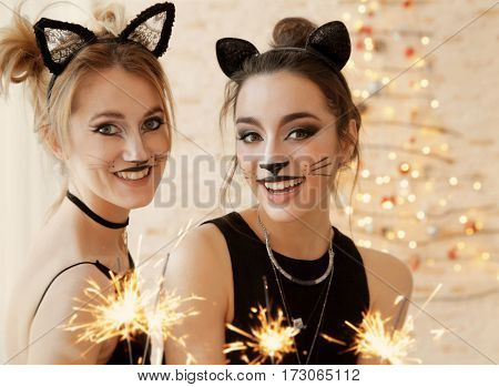 Beautiful young women with cat makeup and sparklers at party