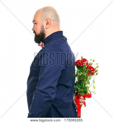 Funny fat man with bouquet of flowers on white background