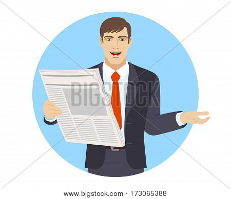 Businessman with newspaper gesturing. Portrait of businessman in a flat style. Vector illustration.