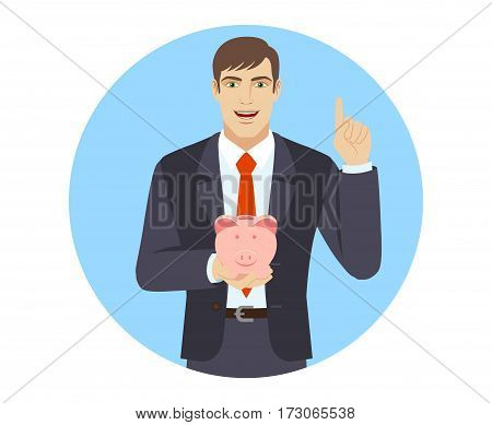 Businessman holding a piggy bank and pointing up. Portrait of businessman in a flat style. Vector illustration.