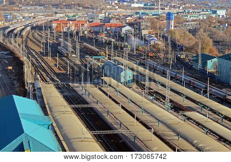 The view from the tower of Railway Station in Samara. Train tracks, platforms, freight wagons