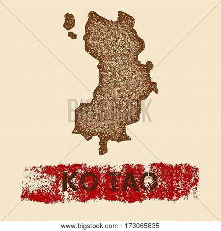 Ko Tao Distressed Map. Grunge Patriotic Poster With Textured Island Ink Stamp And Roller Paint Mark,