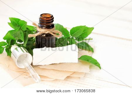 Essential oil of basil, green fresh plant leaves, dropper bottle and pipette, recipe notes, empty space for text.