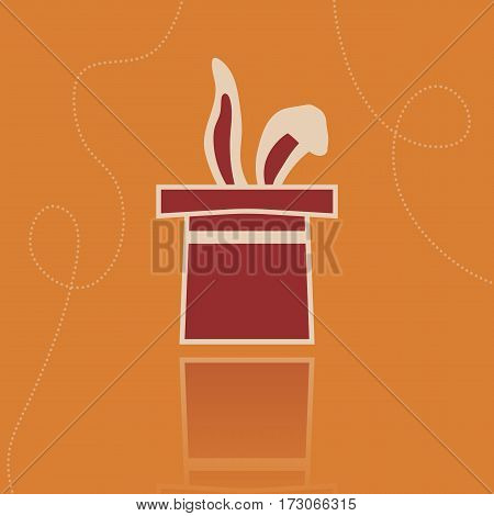 Vector rabbit in the hat illustration. Flat image in vintage style on the orange background.