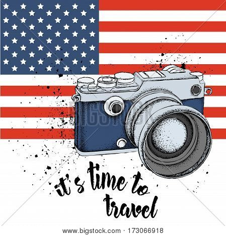 Hand drawn vintage camera on background. Print of USA flag. hand drawn vector illustration