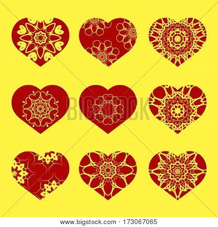 Romantic Red Heart Set Isolated on Yellow Background.  Image Suitable for Laser Cutting. Symbol of Valentines Day.