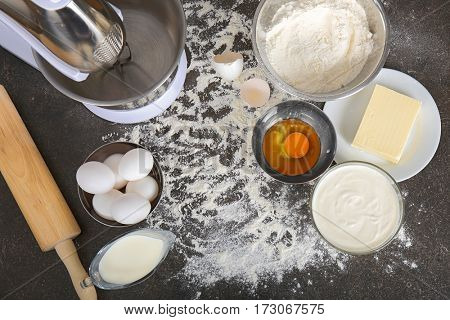 Cooking concept. Ingredients for making dough on kitchen table