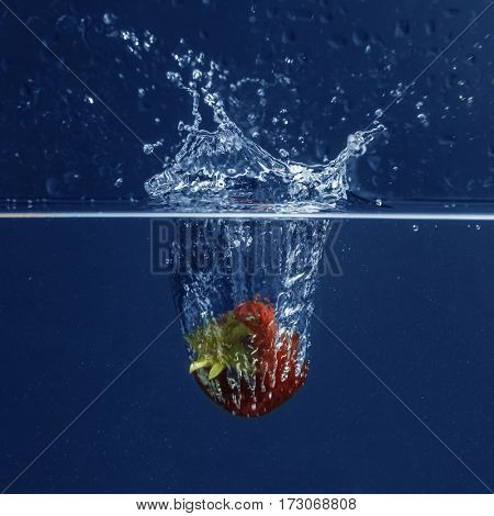 Fresh juicy strawberry falling in water on blue background