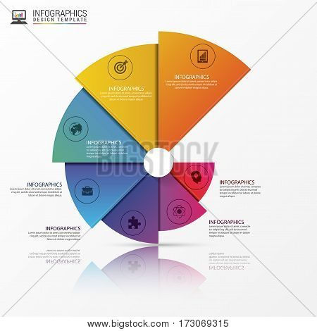 Modern infographics options banner. Spiral pie chart. Vector illustration. Can be used for web design and workflow layout