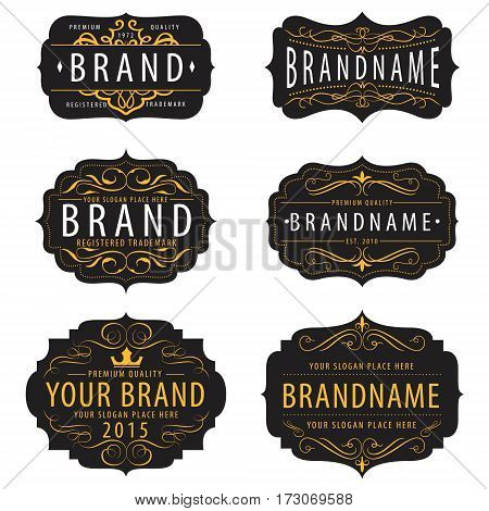 Vintage calligraphic frames collection elements for your logo templatelabelbadgebrand identitymenu restaurant