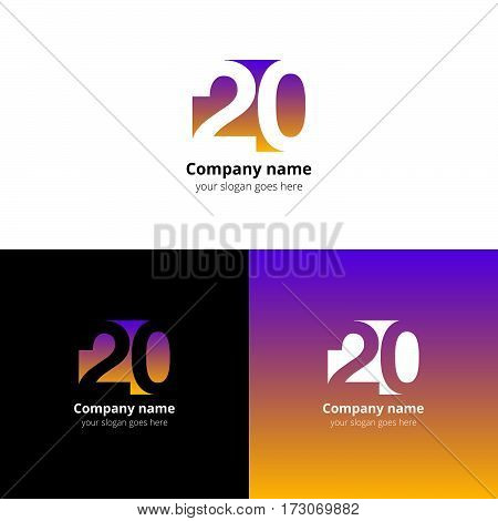 20 logo icon flat and vector design template. Monogram years numbers one and zero. Logotype twenty with orange gradient color. Creative vision concept logo, elements, sign, symbol for card, brand.