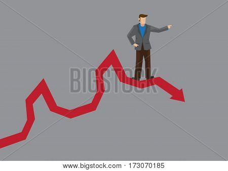 Cartoon business director pointing up but standing on stock chart with downward trend. Creative vector illustration on poor business management and wrong investment market prediction.