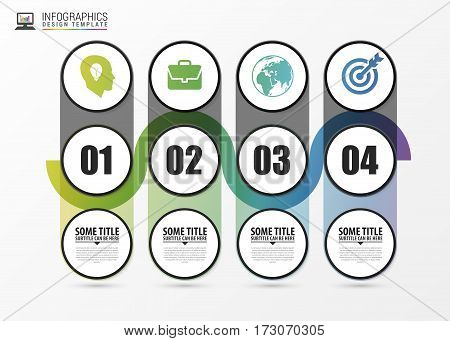 Timeline infographic with 4 steps. Modern design template. Vector illustration