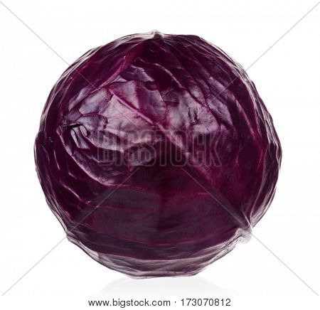 Fresh red cabbage vegetable on white background