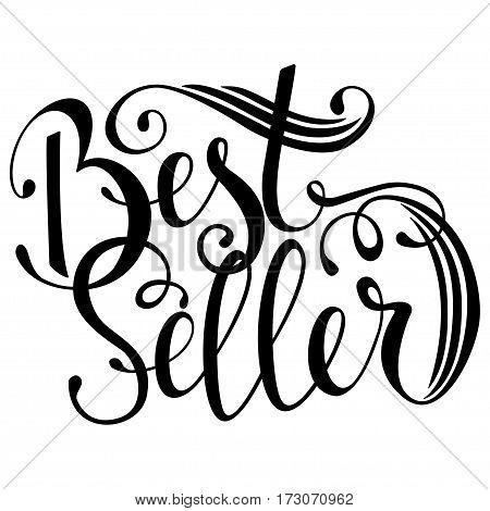 Hand drawn text bestseller, handwritten lettering, brunch, isolated on white background. Vector illustration