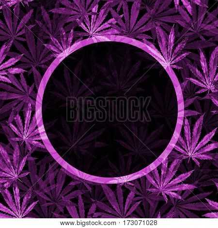 Purple Cannabis leaves on black background. Hand drawn watercolor illustration of the plant Cannabis Sativa or Marijuana. Pattern with marijuana leaf for label poster web.