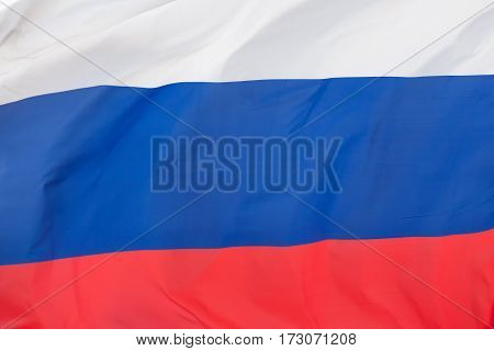 Close up of Russian flag. National flag of federation