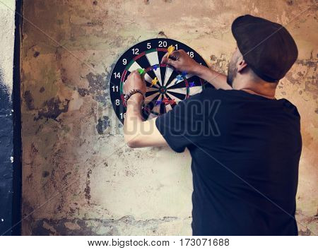 Man Dartboard Arrows Game Activity
