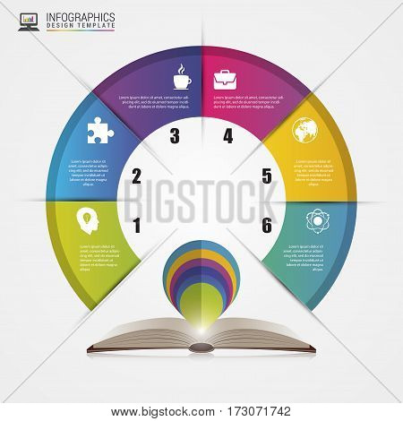 Open book. Infographics concept. Modern design template. Vector illustration