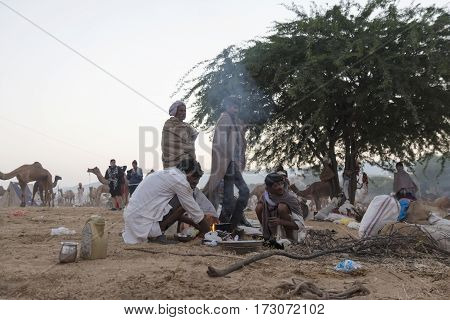 PUSHKAR INDIA-OCT 30 : morning life of indian people in outdoor desert camp in Pushkar on october30 2014 india