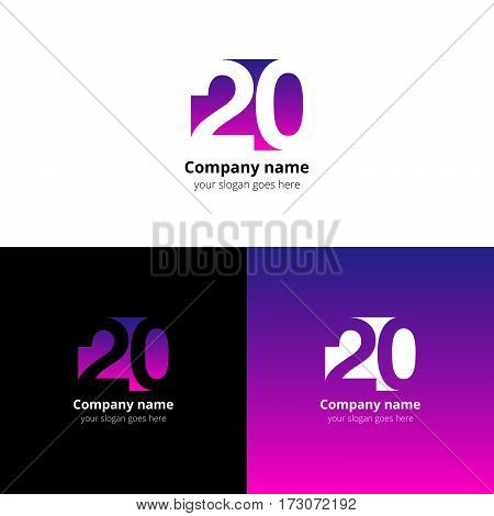 20 logo icon flat and vector design template. Logotype twenty with purple-pink gradient color. Creative vision concept logo, elements, sign, symbol for card, brand
