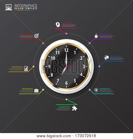 Infographic concept. Business Clock concept. Vector illustration