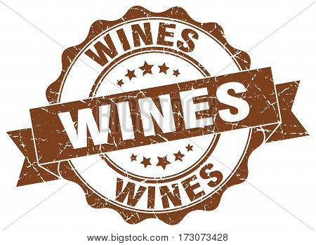 Wines. Stamp. Sign. Seal. Round. Retro. Ribbon