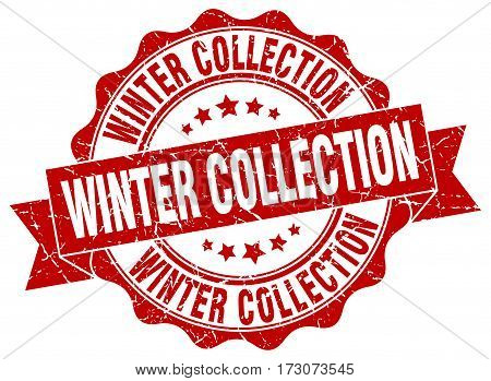 Winter Collection. Stamp. Sign. Seal. Round. Retro. Ribbon