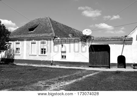 Typical houses in the village Vulcan (German: Wolkendorf) a commune in Braşov County in the centre of Romania, 16 km west of the county capital Braşov.