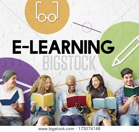 E-learinng distance education icons interface
