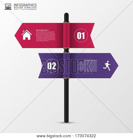 Infographic template of multidirectional pointers on a signpost. Vector illustration