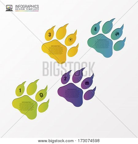 Animal foot modern design template. Infographics. Vector illustration