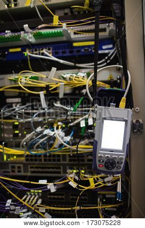 Close-up of rack mounted server in server room
