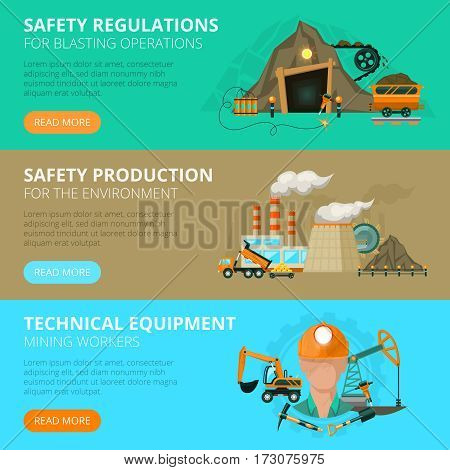 Blast or conventional mining safety regulations 3 flat interactive horizontal banners website design abstract isolated vector illustration