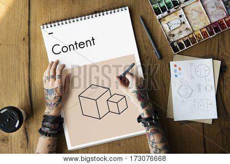 Creative Design Content Boxes Icon Graphic