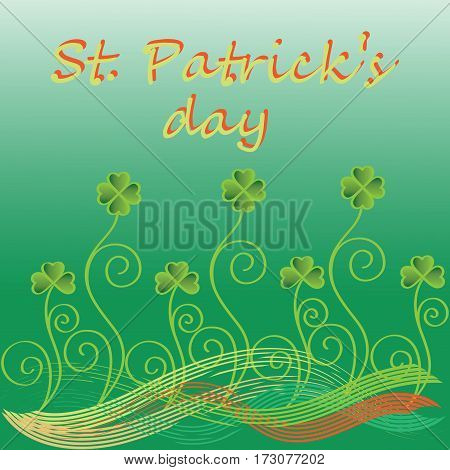 Decorative clover. St.Patrick 's Day. Vector Image. Design for greeting card, greetings, greetings, thematic illustrations.
