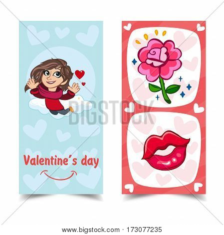 Vector illustration. Romantic greeting cards. Design greeting card on Valentine s Day.